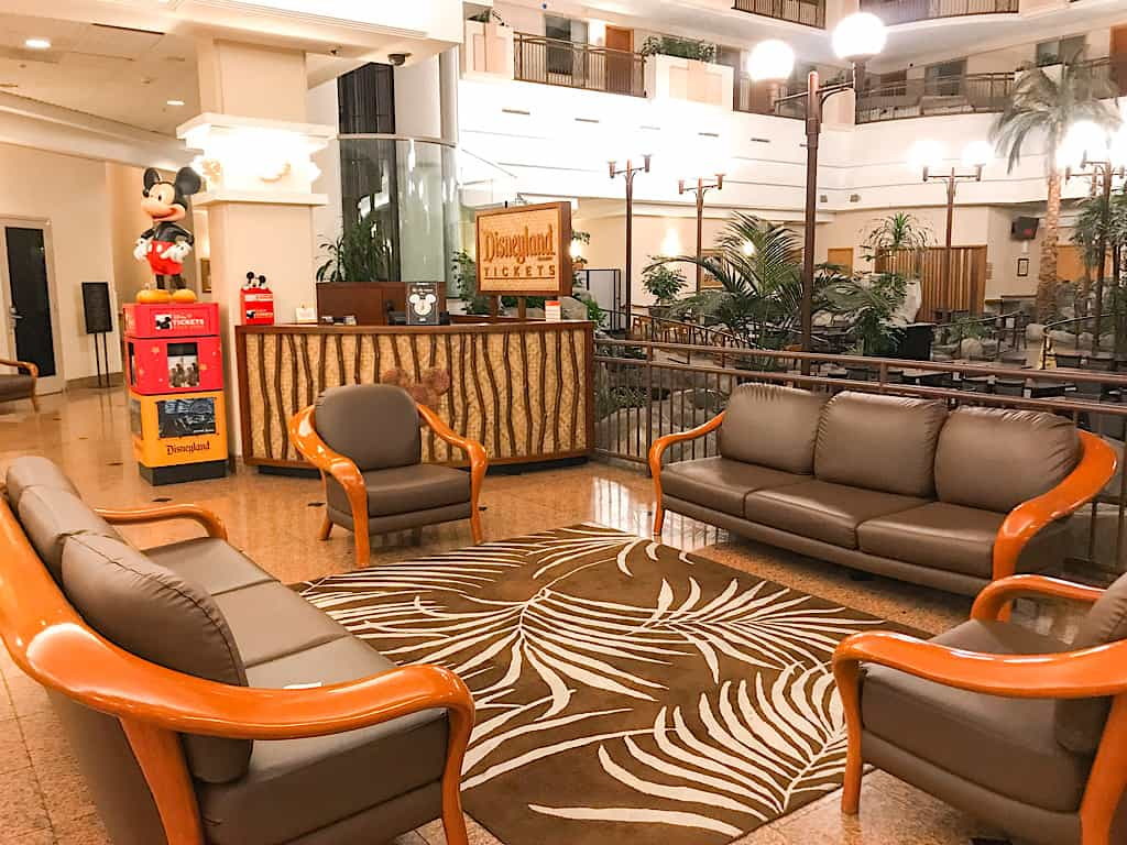 Seating area in the lobby of Embassy Suites in Anaheim California near Disneyland