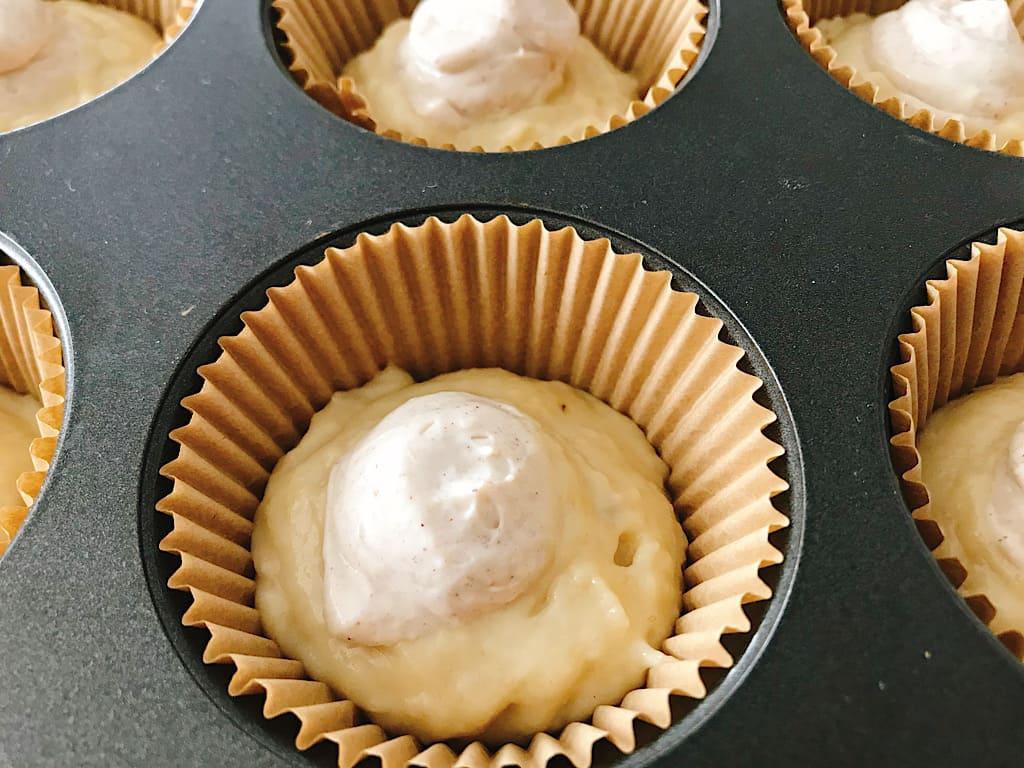 Cream cheese filling and banana cream muffin batter