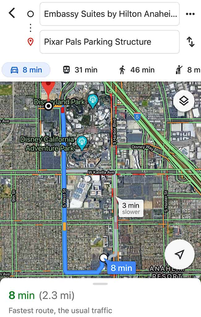 How to get to Disneyland from Embassy Suites Anaheim South Pixar Pals Parking Structure