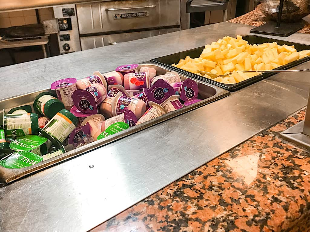 fresh fruit and yogurt offered at Embassy Suites