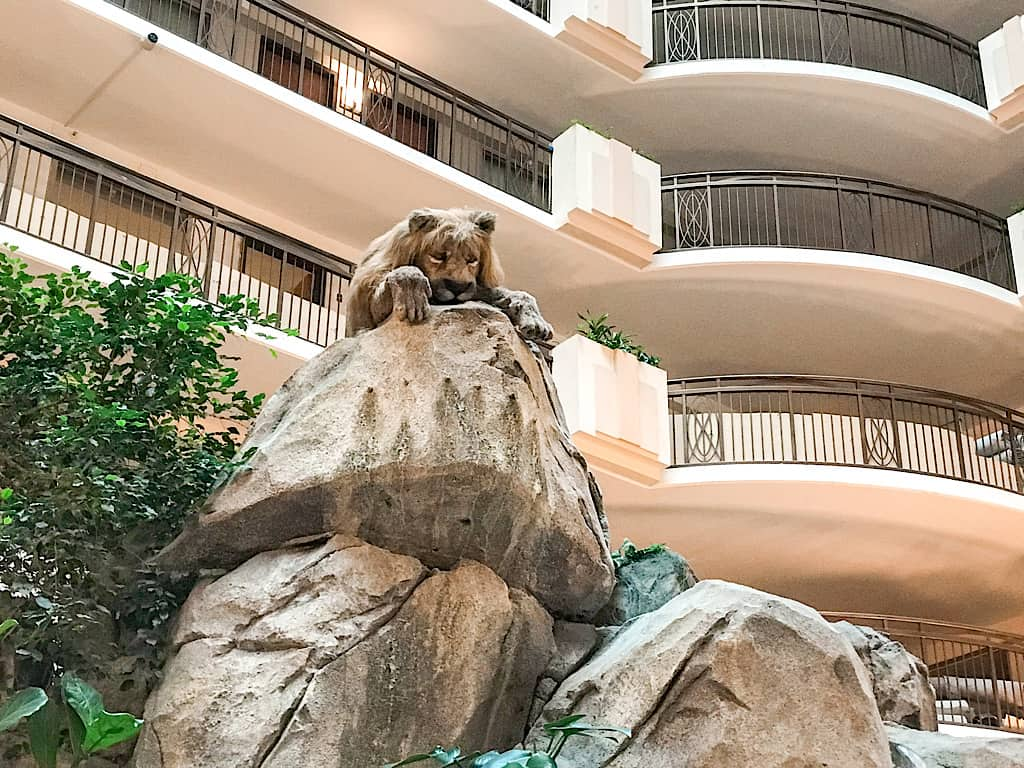 Lion inside the atrium at Embassy Suites Anaheim