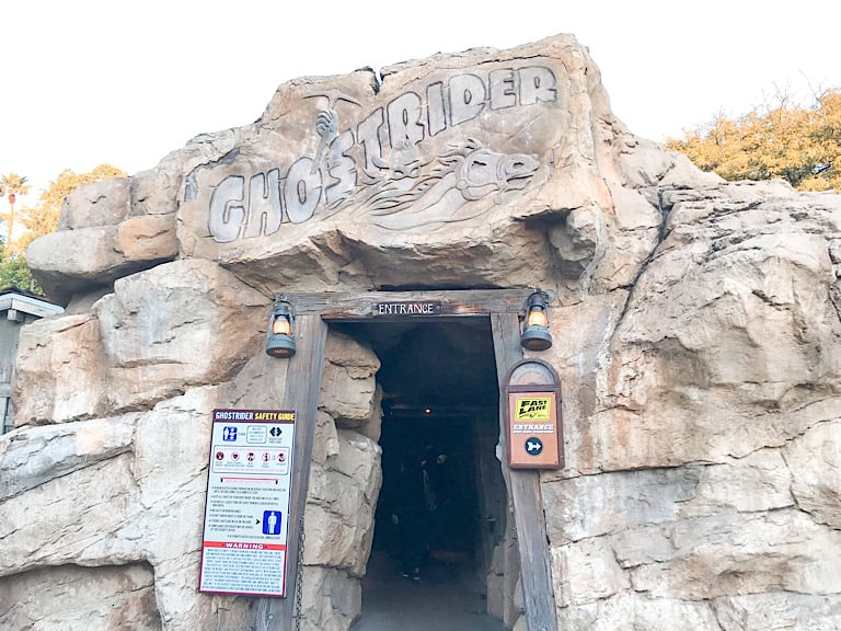 Entrance to Ghost Rider Roller Coaster at Knott's Berry Farm