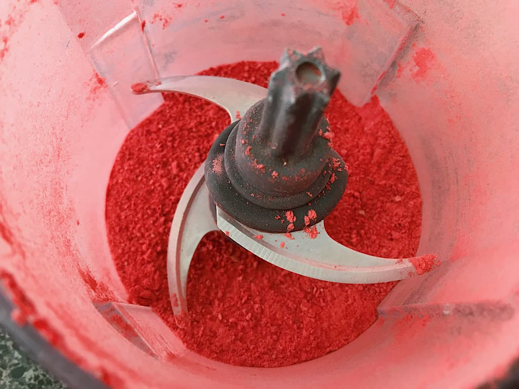 Freeze dried strawberries in a food processor