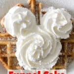 A funnel cake waffle with Mickey whipped cream