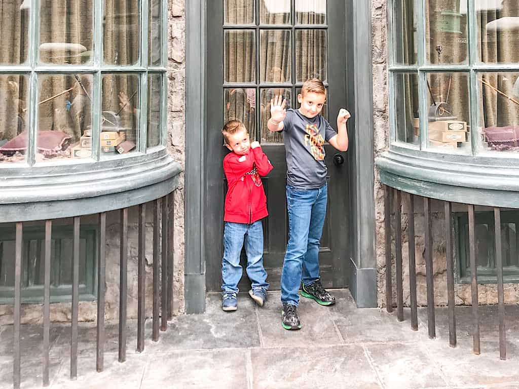 Two kids at the Wizarding World of Harry Potter