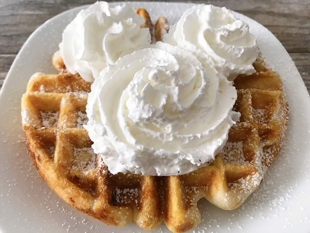 Funnel Cake Waffle with whipped cream