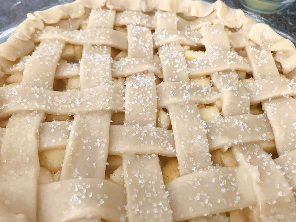 Sparkling sugar on apple pie crust