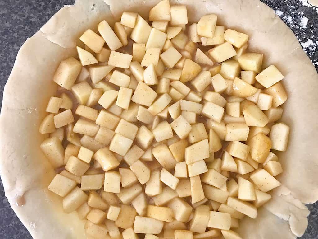 Apple Pie filling in a pie shell