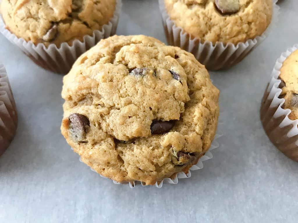 A chocolate chip peanut butter banana muffin