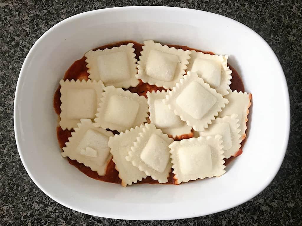 Frozen ravioli over sauce for baked ravioli