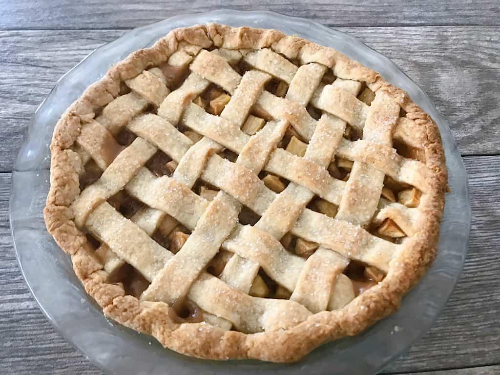Freshly baked apple pie with lattice top