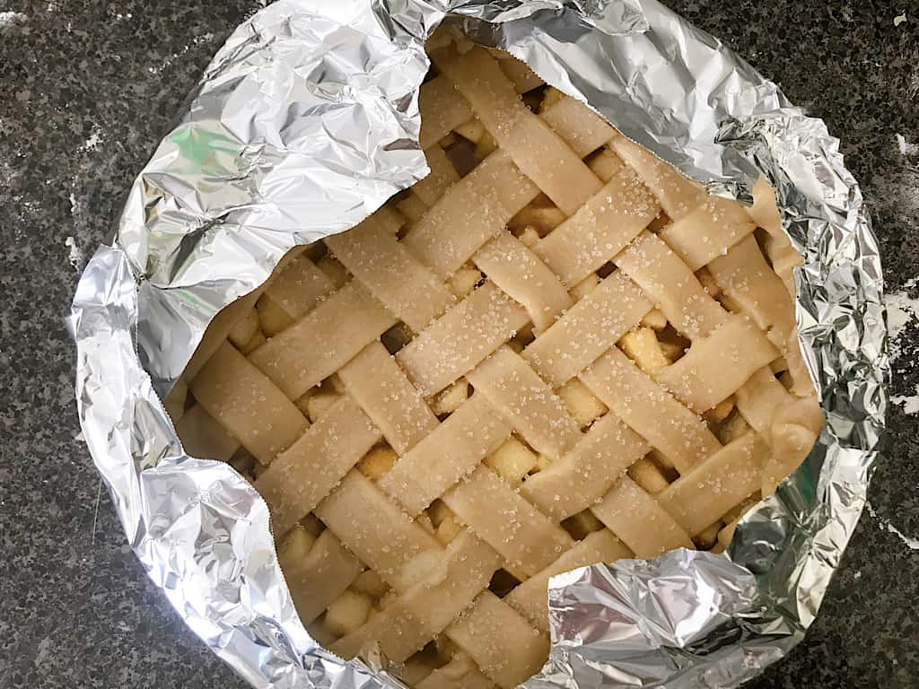 Caramel Apple PIe covered with foil