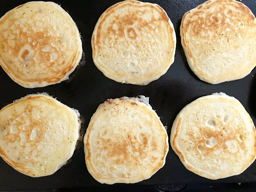 When the pancakes begin to bubble, flip them over and cook for another 2-3 minutes.