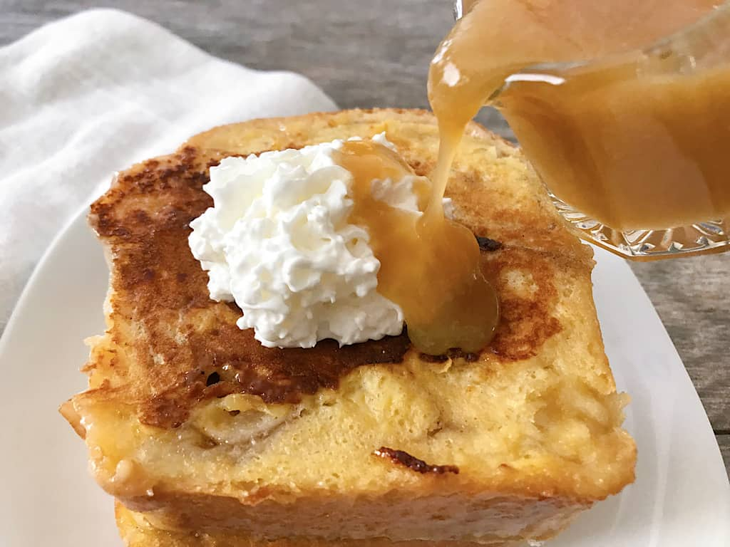 Caramel Syrup poured over Chunky Cinnamon French Toast