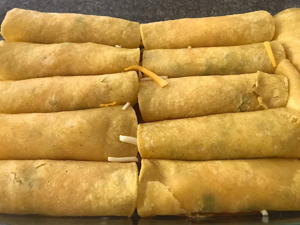 Rolled up cheese enchiladas
