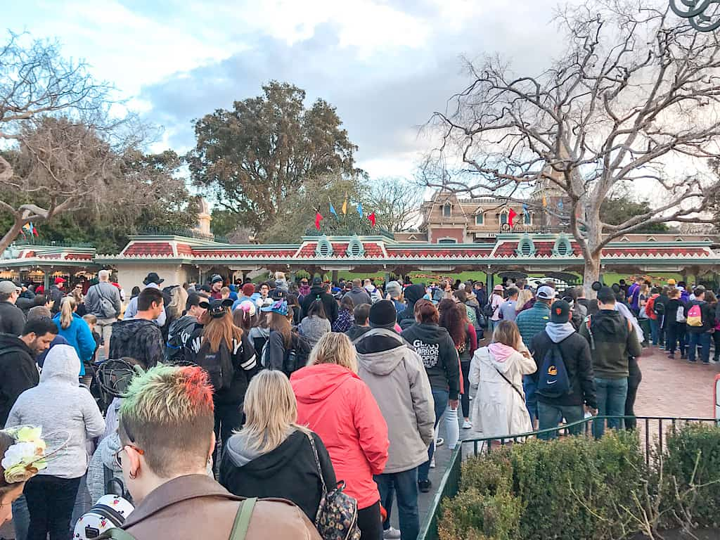 Crowd at Disneyland Entrance Gate