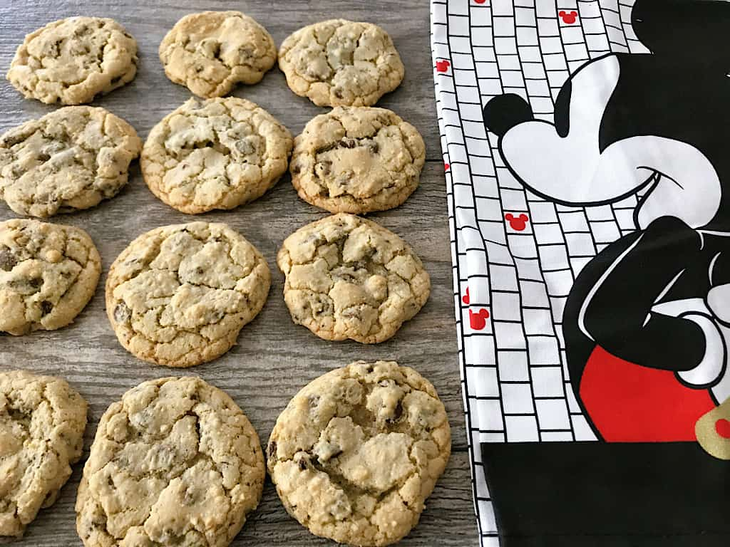Grand Floridian Chocolate Chip Cookies and a Mickey Mouse kitchen towel