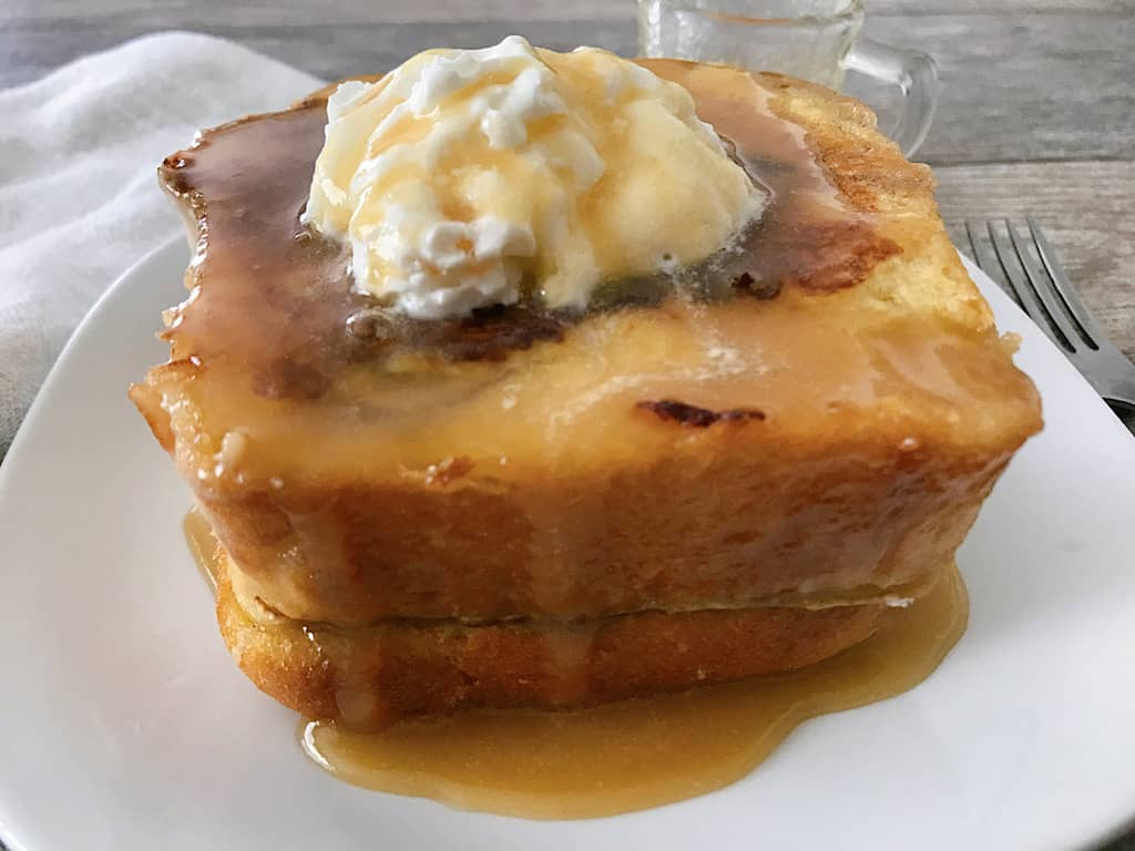 A close up view of chunky cinnamon french toast