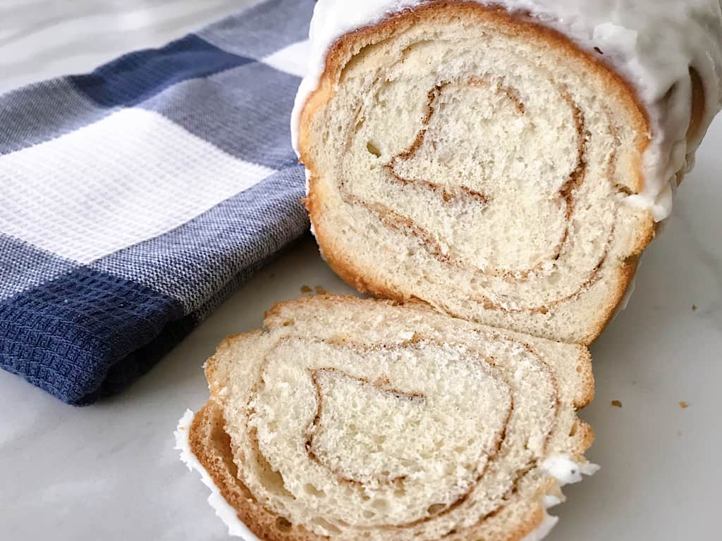 Sliced Chunky Cinnamon Bread with Icing