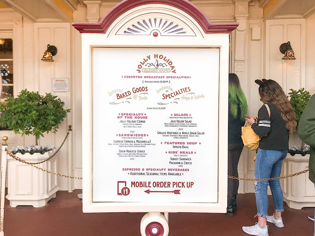 Menu from Jolly Holiday Bakery Cafe at Disneyland