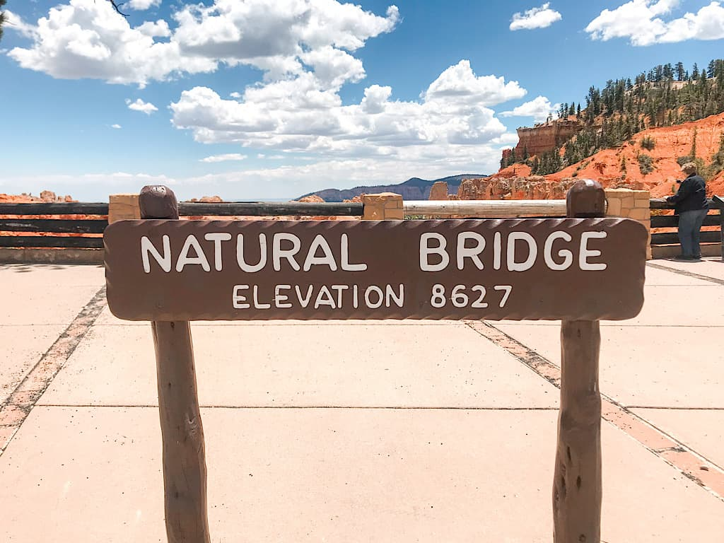 Natural Bridge Sign at Bryce Canyon National Park with Kids