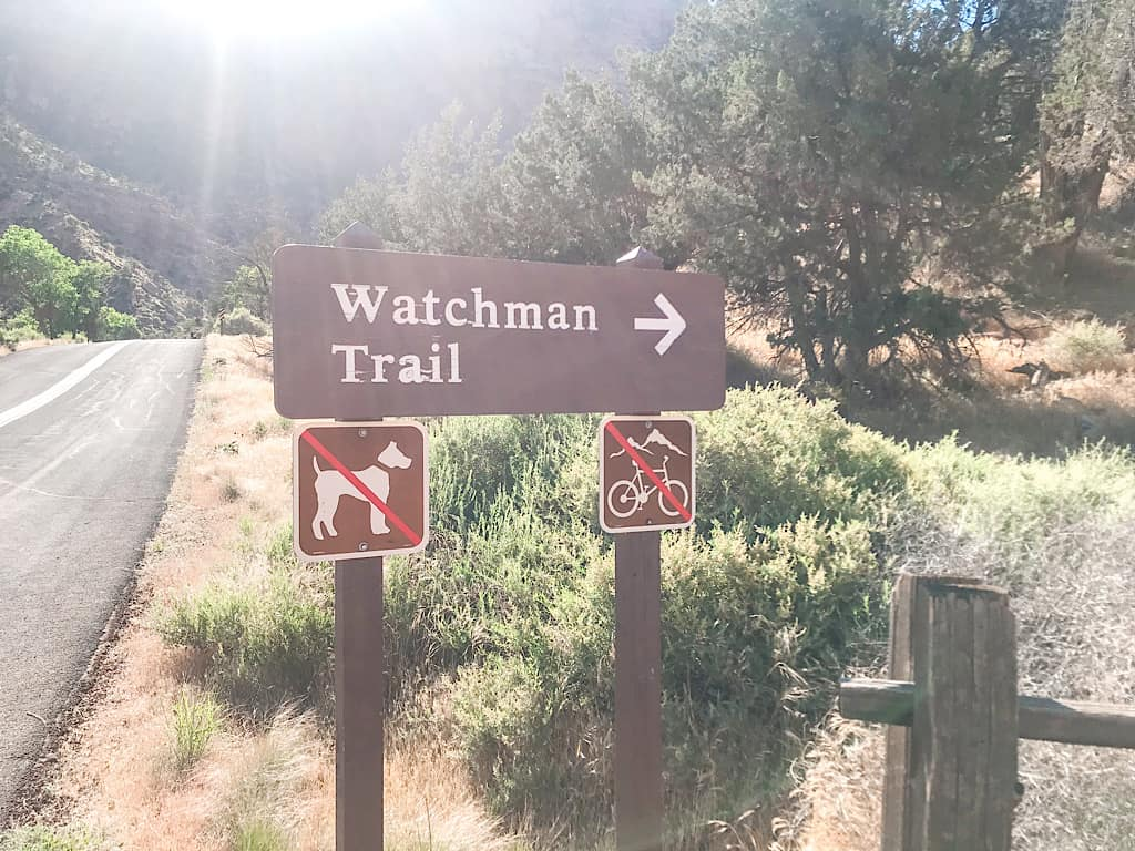 Watchman Trail Head sign at Zion National Park with Kids