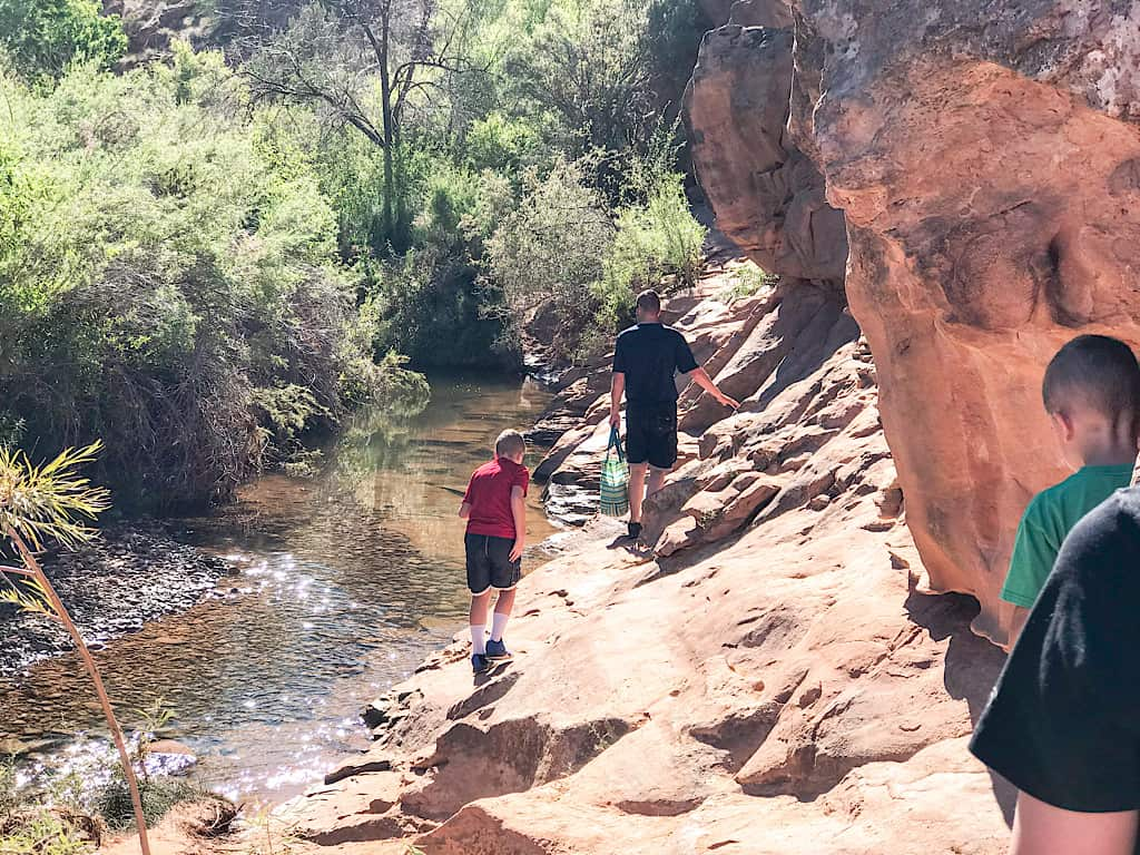Kids on the Mill Creek Trail in Moab, Utah