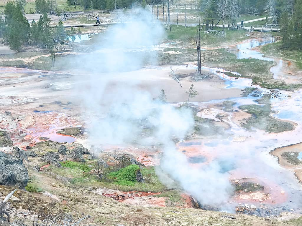 Geysers at Artists' Paint Pots in Yellowstone National Park