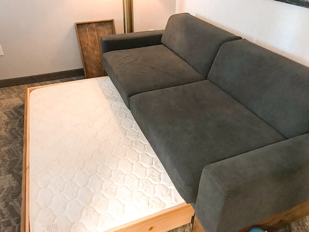 Sofa with pull out trundle bed at Springhill Suites in Jackson Hole, Wyoming