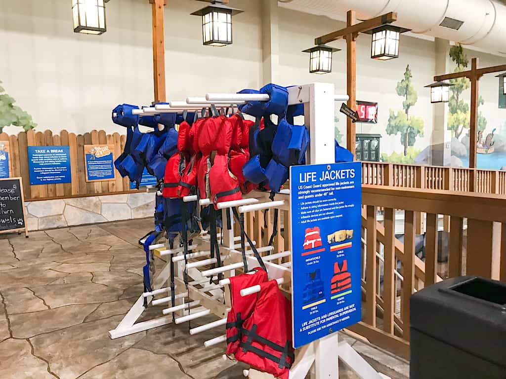 Life jackets at Great Wolf Lodge Water Park