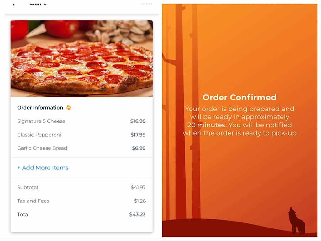 how to order pizza on the Great Wolf Lodge App