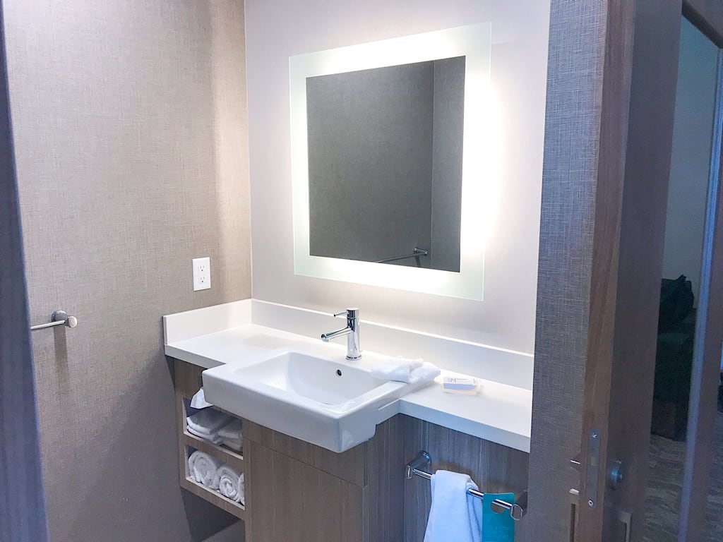 Bathroom vanity in a2 Queen Suite at Springhill Suites in Moab, Utah near Arches National Park with Kids