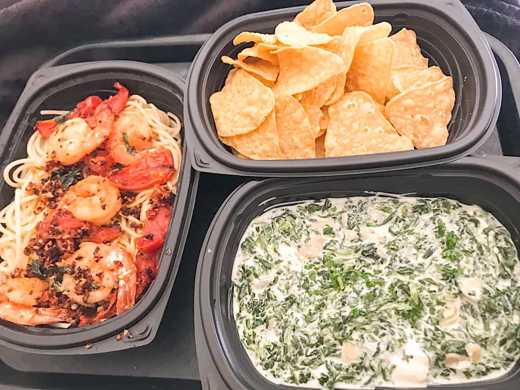 Spicy Shrimp Pasta, Spinach & Artichoke Dip, and tortilla chips from Lodge Wood Fire Grill at Great Wolf Lodge Washington