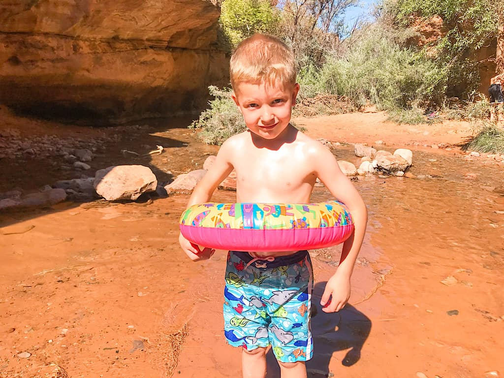 Kids on the Mill Creek Trail Swimming Hole in Moab, Utah