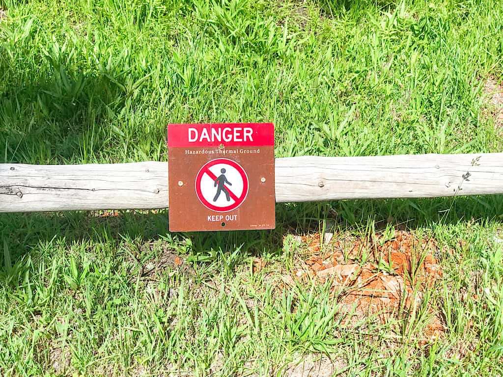 Danger sign at Terrace Spring in Yellowstone National Park