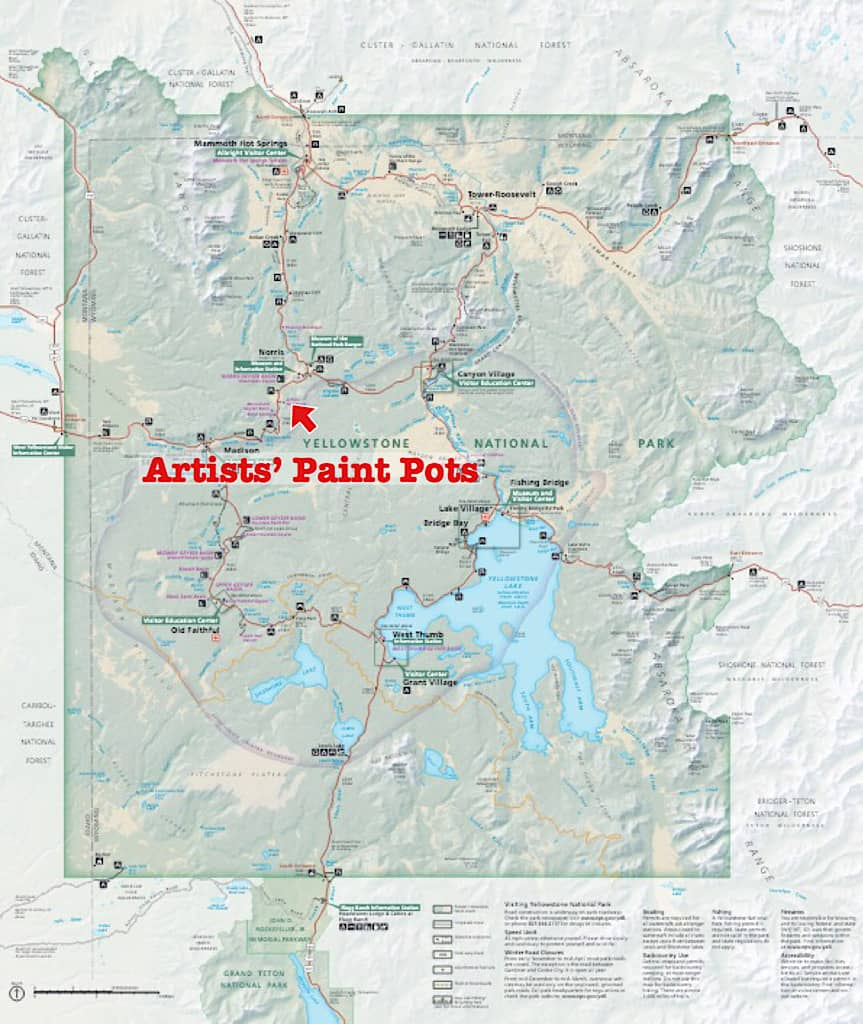 Map of Artists' Paint Pots in Yellowstone