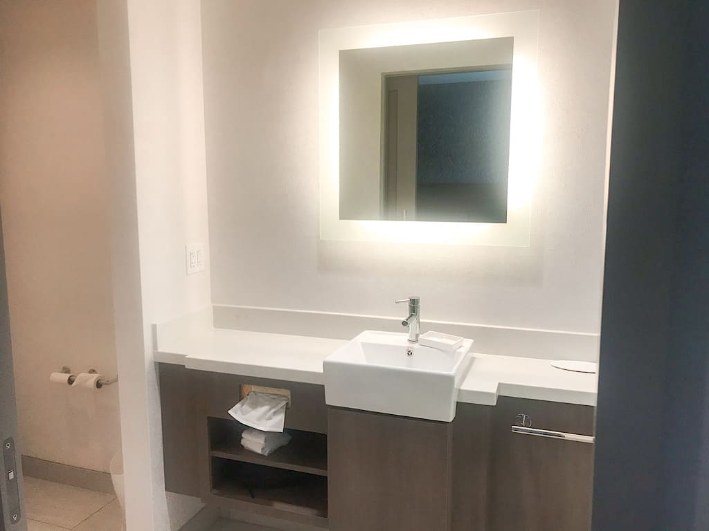 Bathroom vanity in King Suite at Springhill Suites Island Park near Yellowstone
