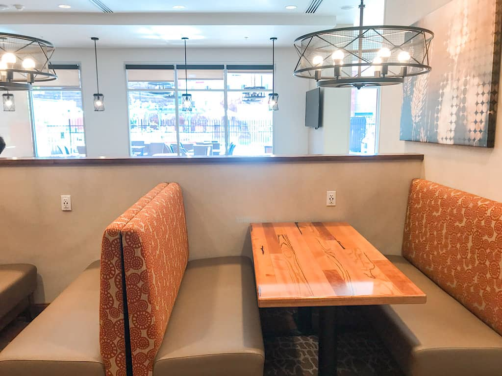 Booth seating areas at Springhill Suites in Moab