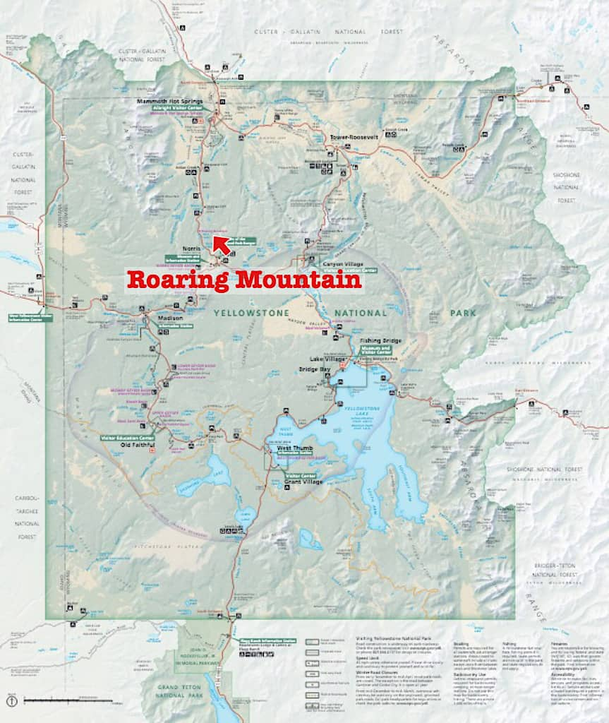 Map to Roaring Mountain in Yellowstone with kids