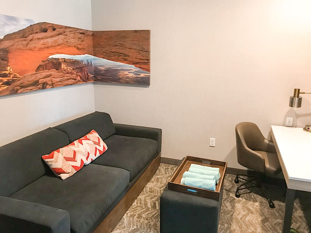 Sitting area of a 2 Queen Suite at Springhill Suites in Moab, Utah