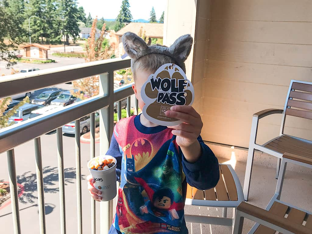 A boy with wolf ears and a wolf pass at Great Wolf Lodge