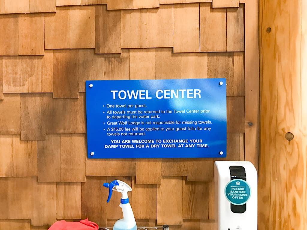 Towel Center inside water park