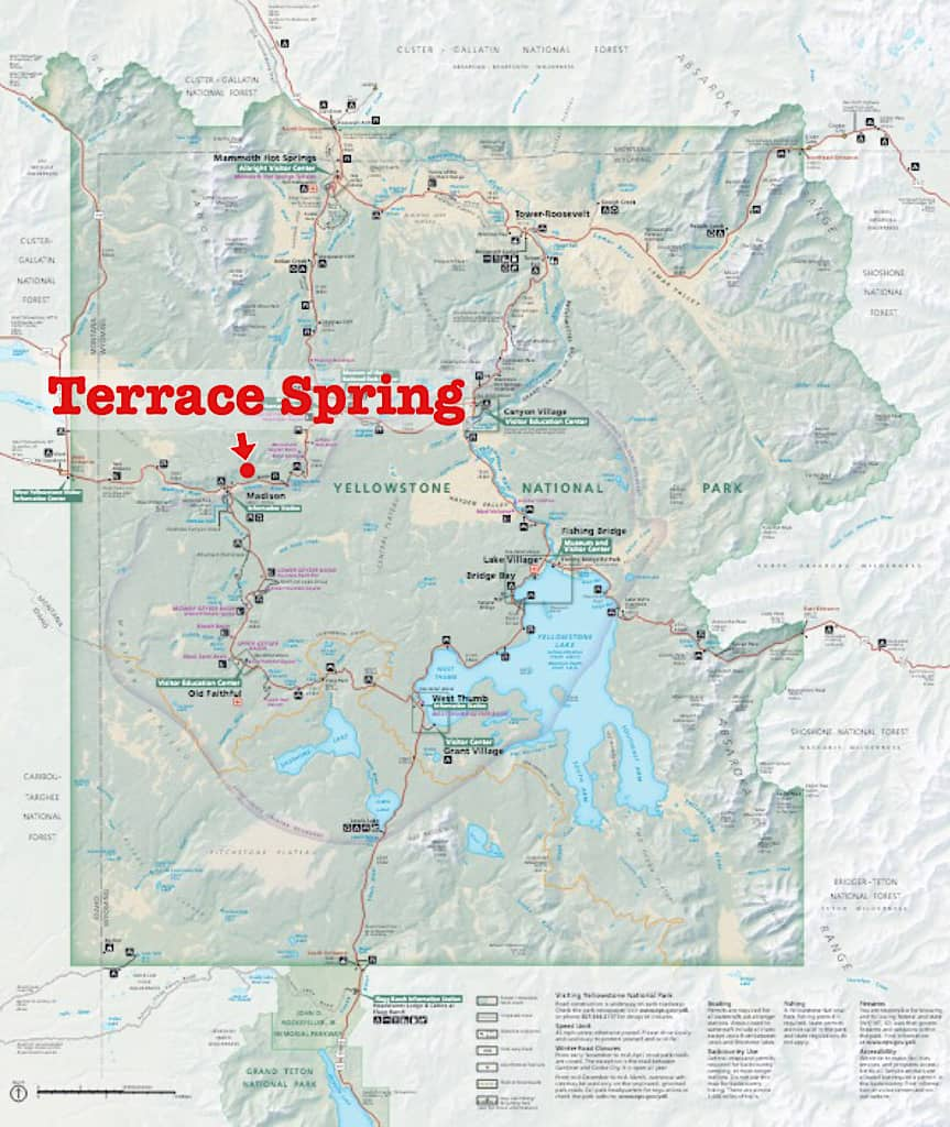 Map of Terrace Spring Yellowstone