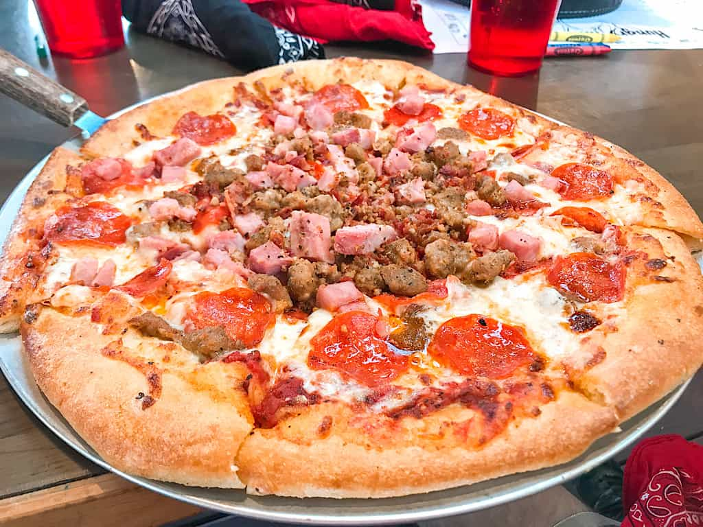 Nothin' But Meat Pizza from Zax Restaurant in Moab near Arches National Park