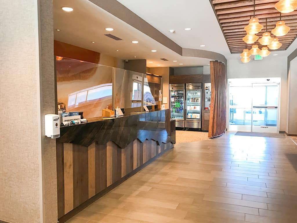 Lobby of Springhill Suites in Moab, Utah near Arches National Park with Kids