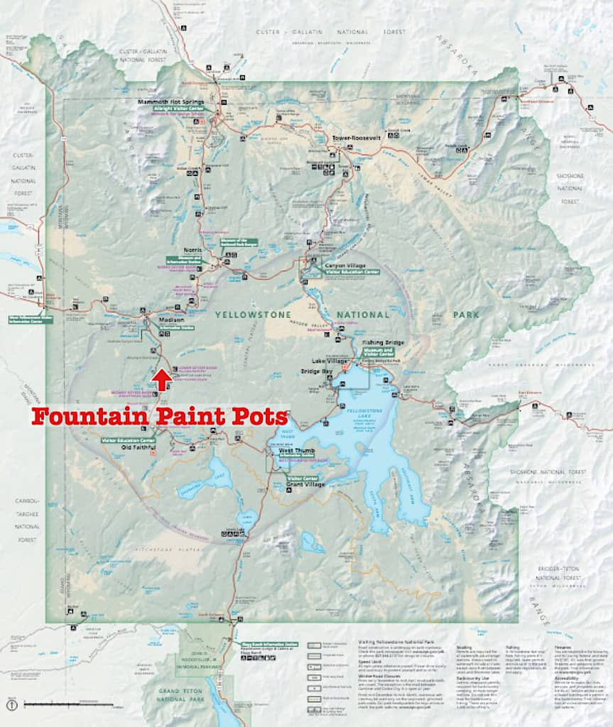 Map of Fountain Paint Pots Yellowstone with Kids