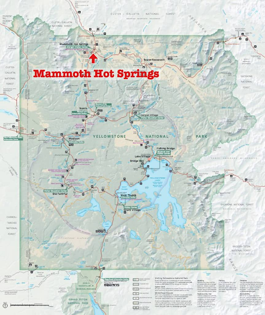 Map of Mammoth Hot Springs in Yellowstone National Park