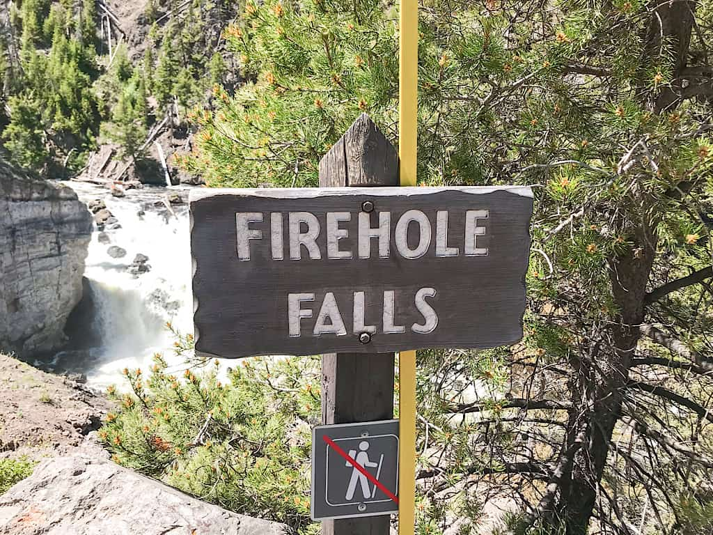 Firehole Falls Sign in Yellowstone with Kids