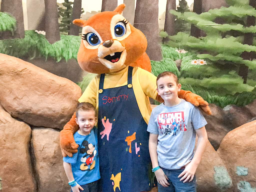 Two kids and a squirrel character at Great Wolf Lodge Anaheim