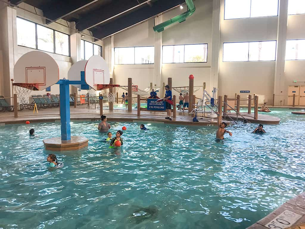Basketball hoops in the water park at Great Wolf Lodge Anaheim